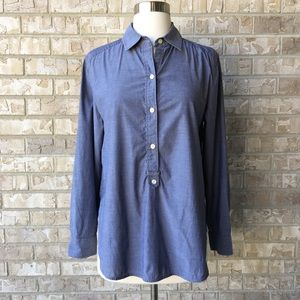 Ann Taylor Chambray Style Cuff Sleeve Work Top S